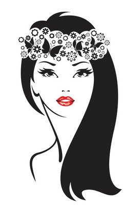 Black and white illustration of elegant woman.