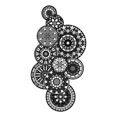 Black white abstract indian floral geometric illustration