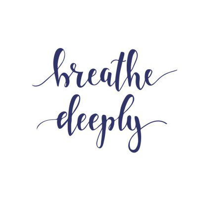 Breathe Deeply. T-shirt hand lettered calligraphic design.
