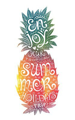 Bright colors hand drawn watercolor pineapple silhouette with grunge lettering inside. Enjoy your tropical summer holidays trip.