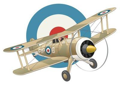 British WW2 plane on air force insignia background