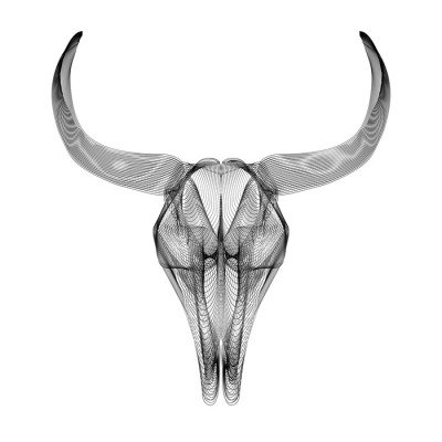 Bull skull. 3d style vector illustration for prints or t-shirt.
