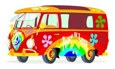Caricatura furgoneta Volkswagen T1 microbus hippie multicolor vista frontal y lateral