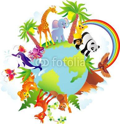 Cartoon animals walking around a globe