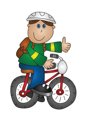 Cartoon boy on a bicycle isolated on white background