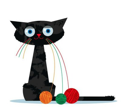 Cartoon cat and clew of yarn