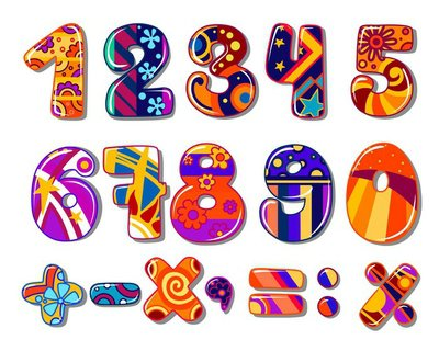 Cartoon colourful school numbers