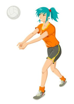 Cartoon illustration of a girl playing volley ball