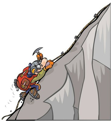 Cartoon mountaineer.