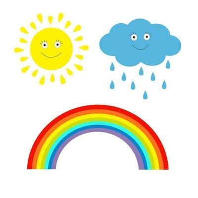 Cartoon sun, cloud with rain and rainbow set. Isolated. Children