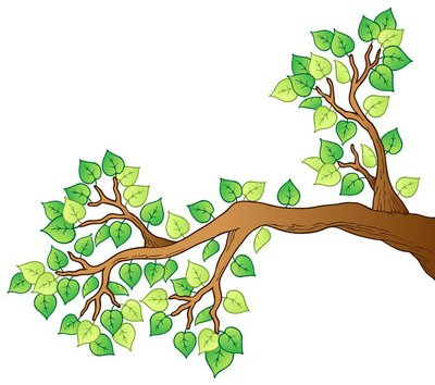 Cartoon tree branch with leaves 1