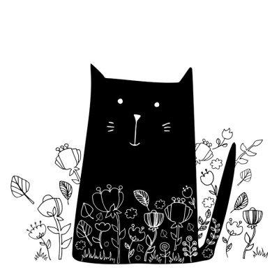 cat animal contour drawing creative kitten pet