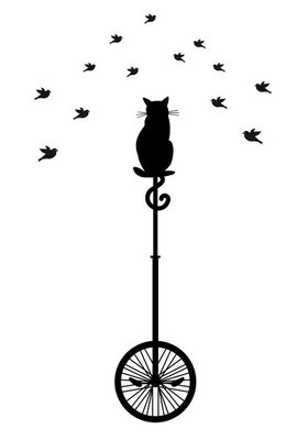 cat on monocycle with birds, vector