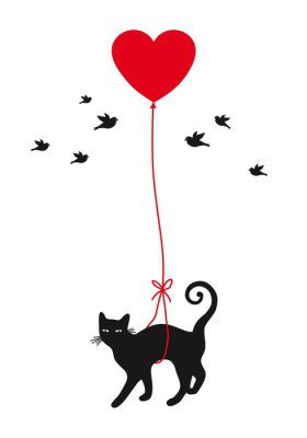 cat with heart balloon, vector Wall Decal
