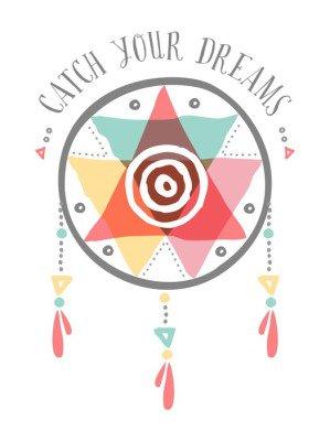 Catch your dreams boho tribal color dreamcatcher