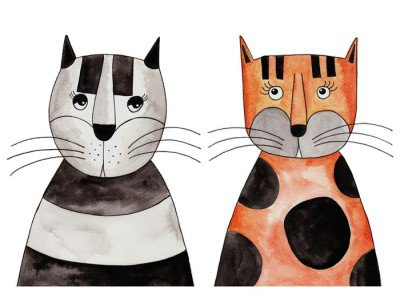 Cats. Artwork, ink and watercolors on paper