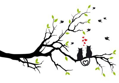 cats in love on tree branch, vector