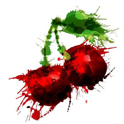 Cherry made of colorful splashes on white background