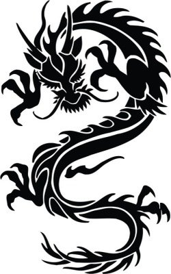 Chinese dragon in black