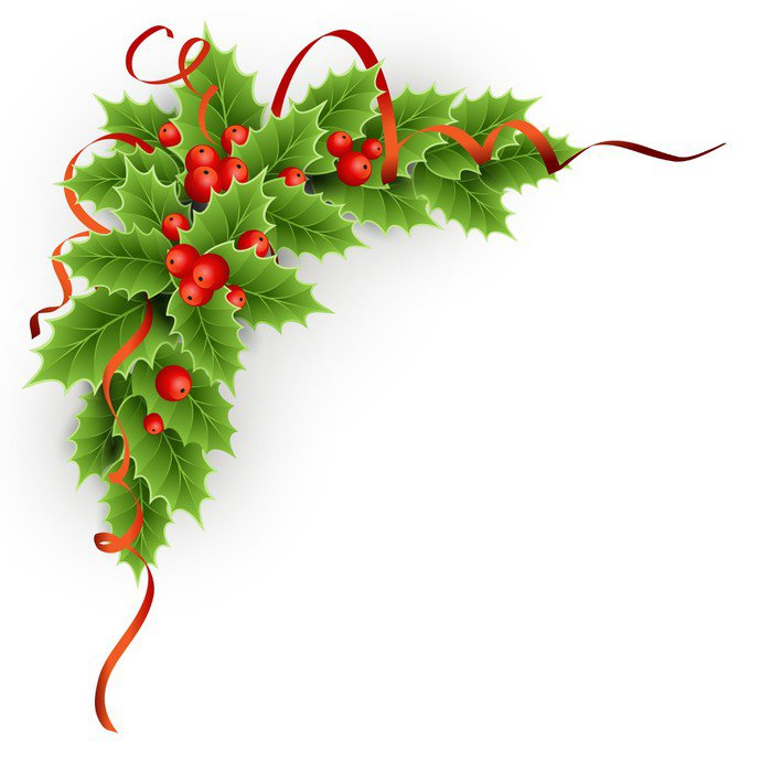 Wall Decal Christmas holly with berries. - Backgrounds