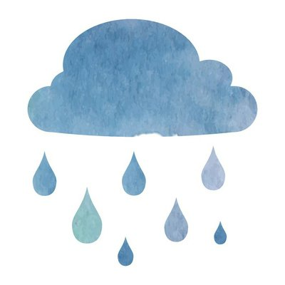 cloud with rain drops - vector illustration in watercolor style