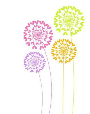 Wall Decal Colorful dandelion flowers