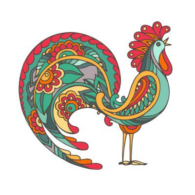 Colorful hand drawn vector illustration of fiery rooster