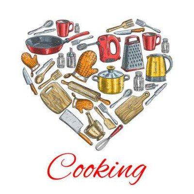 Cooking utensils in heart shape poster