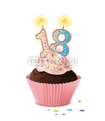 Cupcake mit Kerze und die Zahl 18