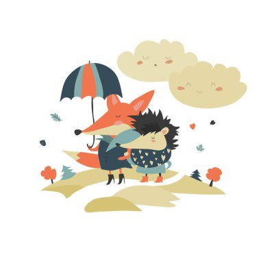 Cute fox and hedgehog walking under umbrella