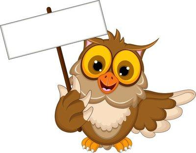 cute owl cartoon holding blank sign