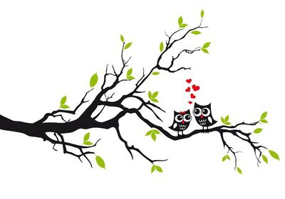 Cute owls in love on tree, vector