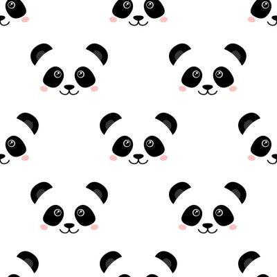 Cute panda face. Seamless wallpaper