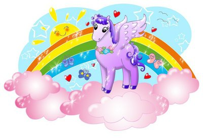 Cute pegasus in the sky with sun and rainbow.