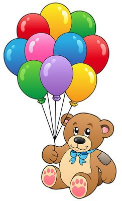 Cute teddy bear holding balloons