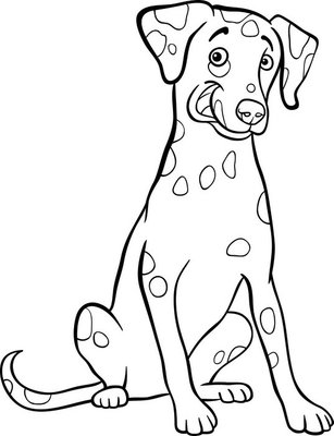dalmatian dog cartoon for coloring book