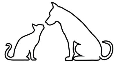 Dog and cat contours composition