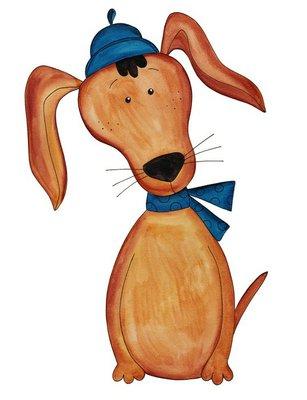 Dog. Cartoon character. Ink and watercolors