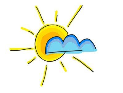 draw of a yellow sunshine behind a bleu cloud
