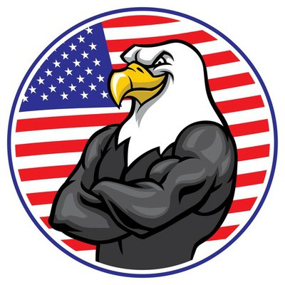 eagle mascot show the muscle with american flag background
