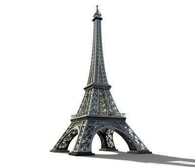Eiffel tower isolated on a white background.