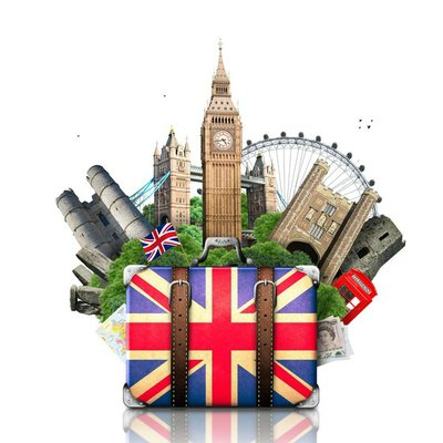 England, British landmarks, travel and retro suitcase