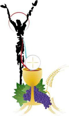 Eucharist symbols of bread and wine, chalice and host with wheat ears and grapes vine. FIrst communion christian color vector illustration.