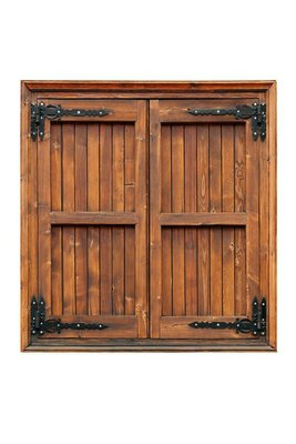 External side of a wooden window with shutters closed isolated