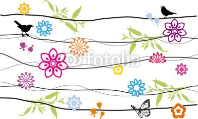 floral background design with birds