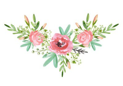 Floral bouquet with red flower and green branches