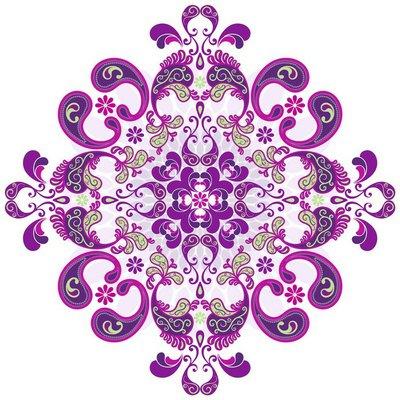 Floral vintage round frame
