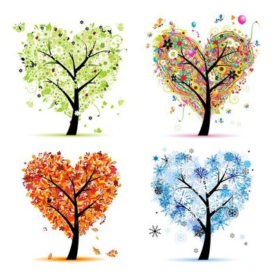 Four seasons - spring, summer, autumn, winter. Art tree hearts