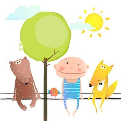 Friendly animals and kid cute funny friends cartoon sitting high