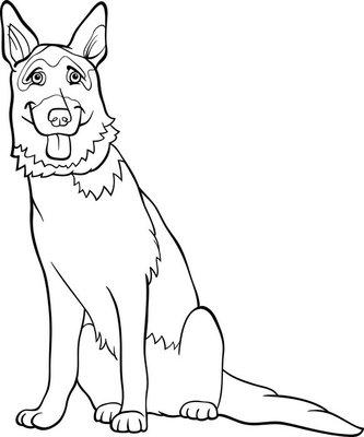 Wall Decal german shepherd dog cartoon for coloring
